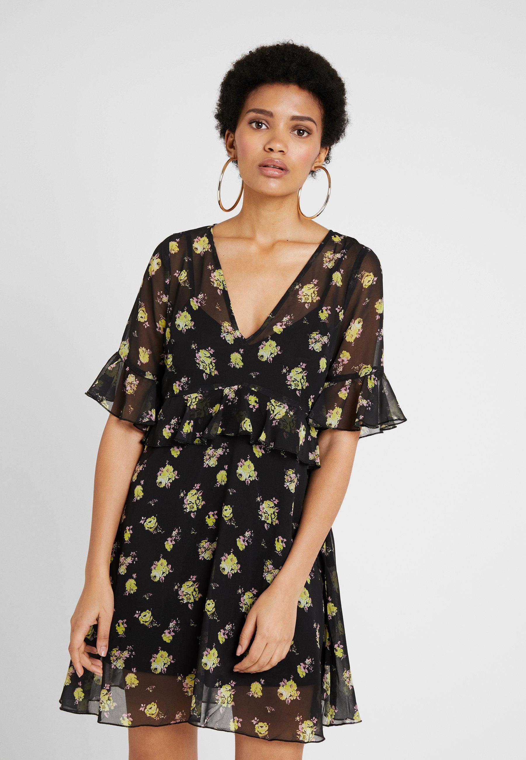 Na DressRobe Ruffle kd Floral D'été Black yellow N0OynwPmv8