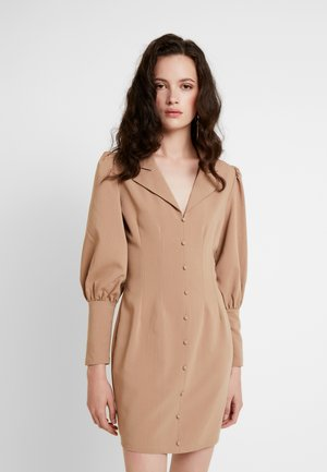 BUTTON FRONT MINI DRESS - Košilové šaty - beige