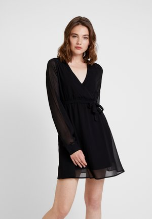 WRAP MINI DRESS - Freizeitkleid - deep black