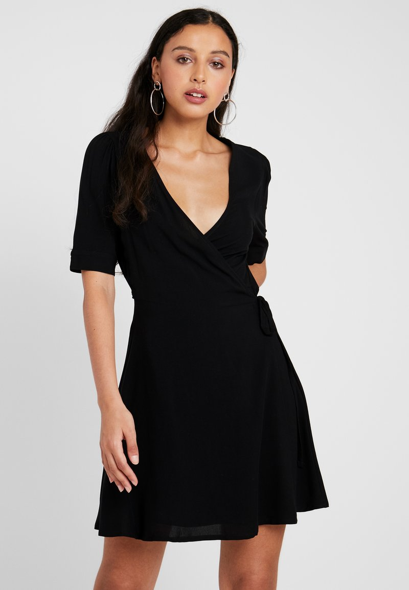 NA-KD - WRAP PUFF SLEEVE MINI DRESS - Day dress - deep black