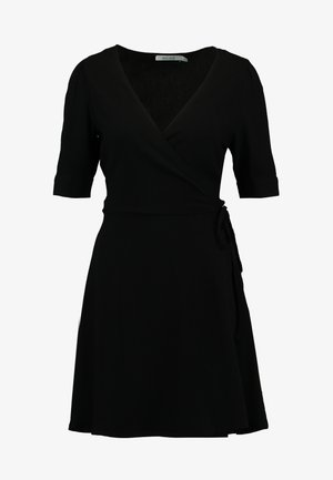 WRAP PUFF SLEEVE MINI DRESS - Robe d'été - deep black