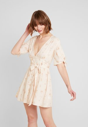 BELTED DEEP V MINI DRESS - Day dress - beige