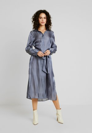 SHINY LONG SHIRT DRESS - Skjortekjole - dusty dark blue