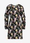 NA-KD - PUFF SLEEVE ROUND NECK MINI DRESS - Freizeitkleid - multi coloured