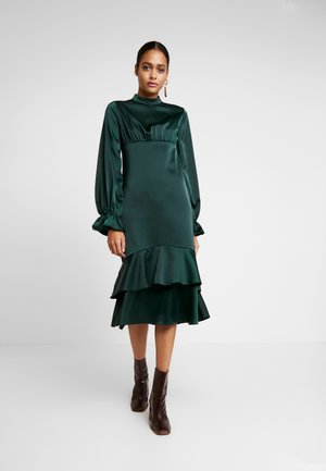 BALLON SLEEVE GATHERED MIDI DRESS - Cocktailkjole - dark green