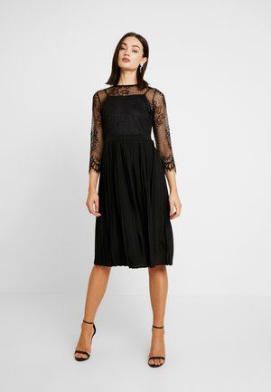 CONTRAST MIDI DRESS - Vestito elegante - black