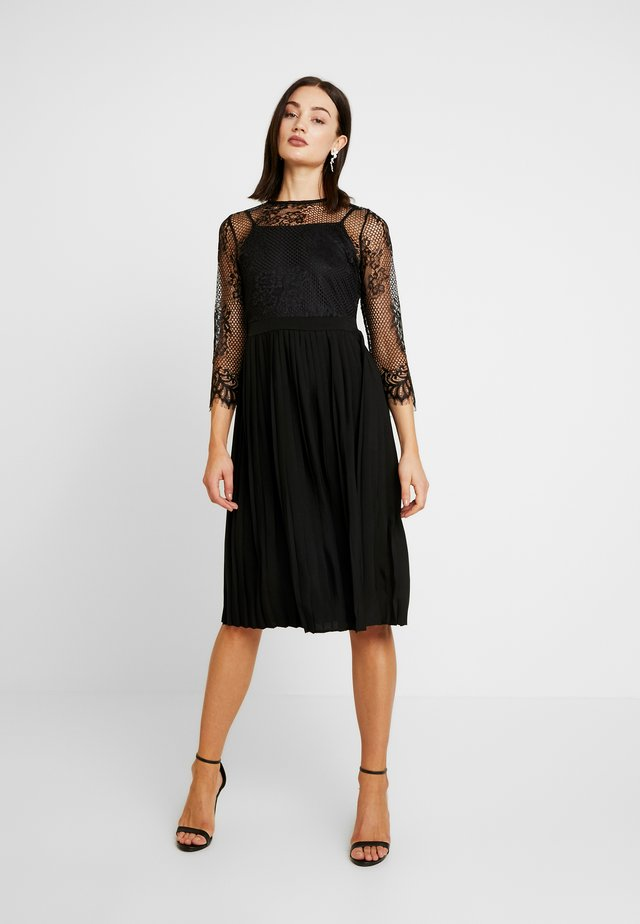 CONTRAST MIDI DRESS - Juhlamekko - black