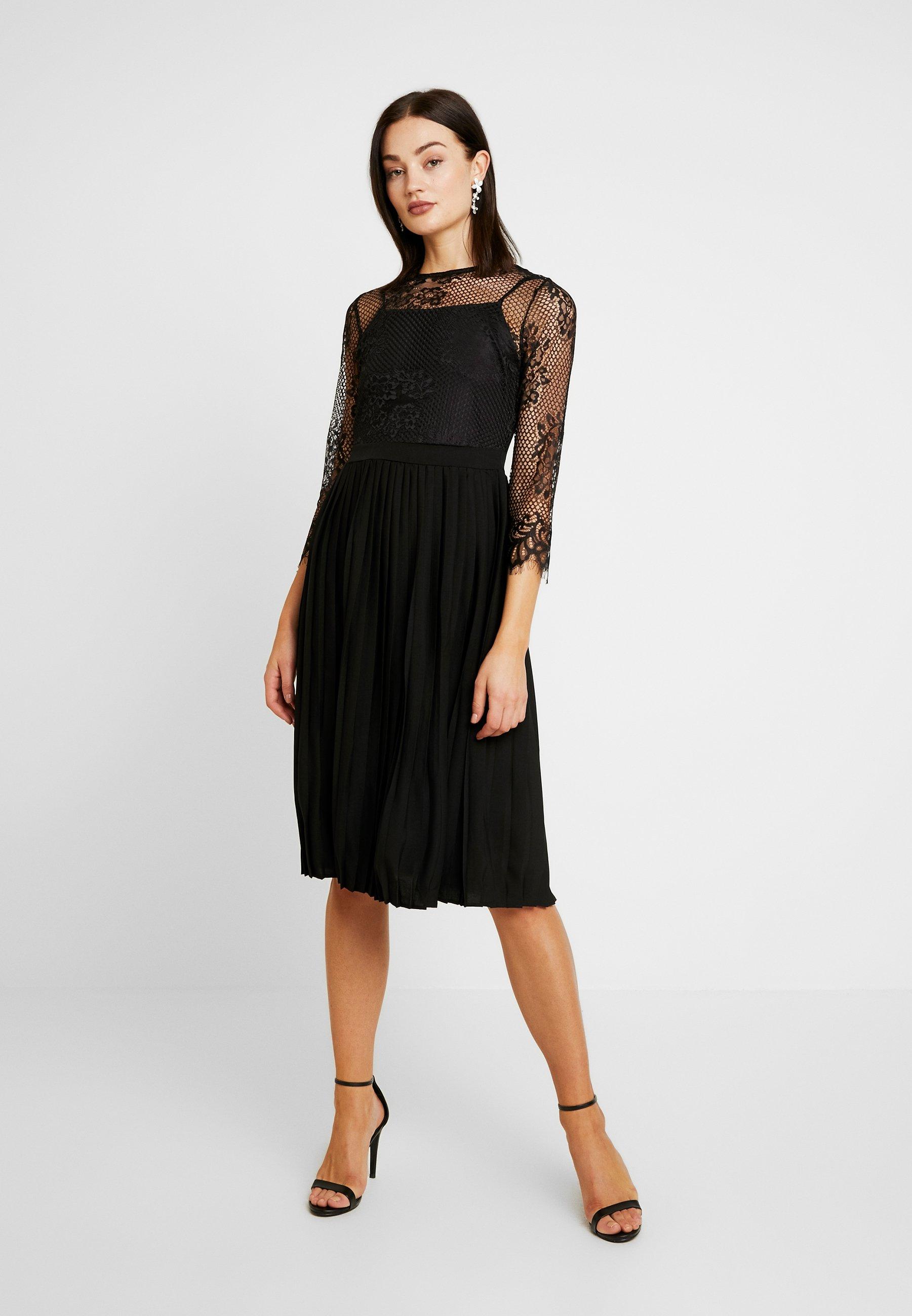 NA-KD CONTRAST MIDI DRESS - Vestito elegante - black