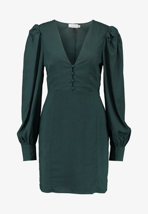 V-NECK PUFF SLEEVE DRESS - Denní šaty - dark teal