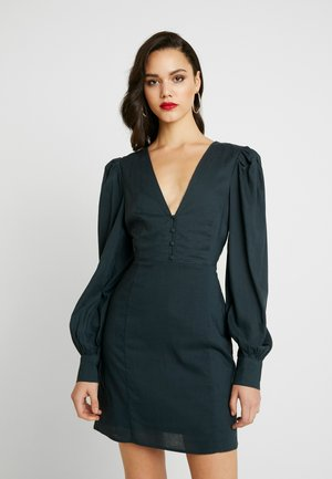 V-NECK PUFF SLEEVE DRESS - Robe d'été - dark teal