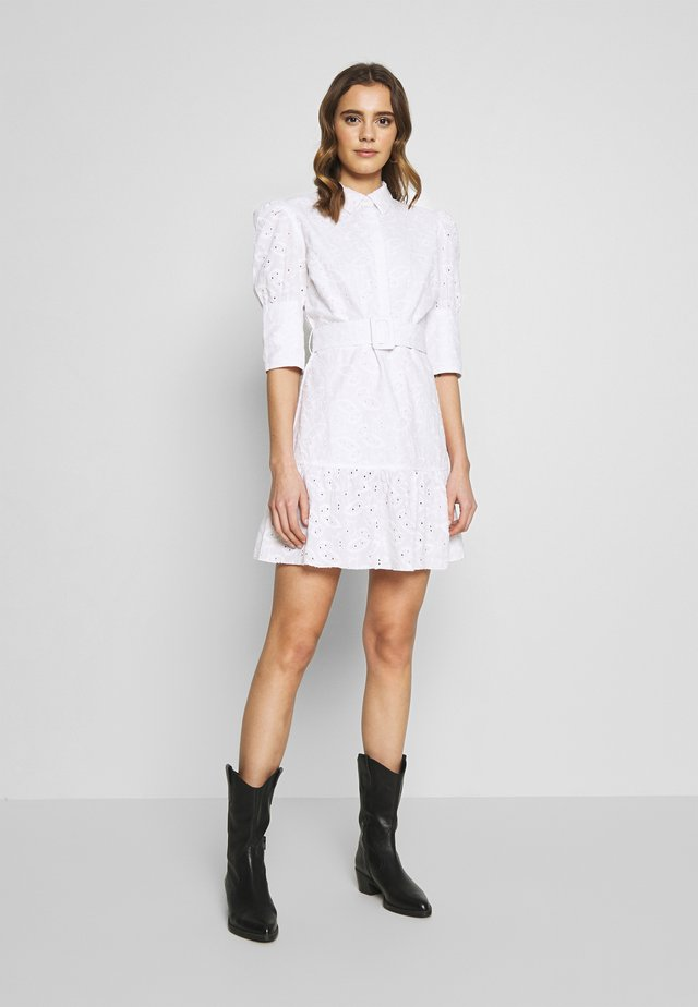 PUFF SLEEVE ANGLAISE DRESS - Shirt dress - white