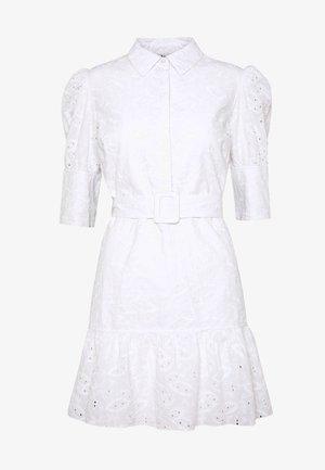 PUFF SLEEVE ANGLAISE DRESS - Vestido camisero - white