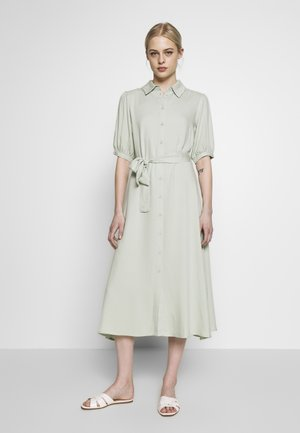 PUFF SLEEVE BELTED MIDI DRESS - Day dress - green