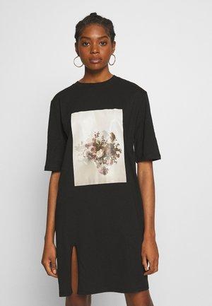 SIDE SLIT TEE DRESS - Jerseykjole - black