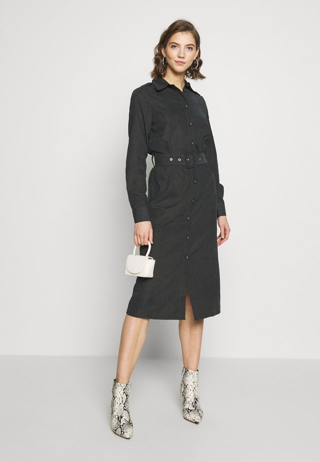 FRONT BUTTON BELTED DRESS - Shirt dress - black