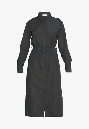 FRONT BUTTON BELTED DRESS - Skjortekjole - black