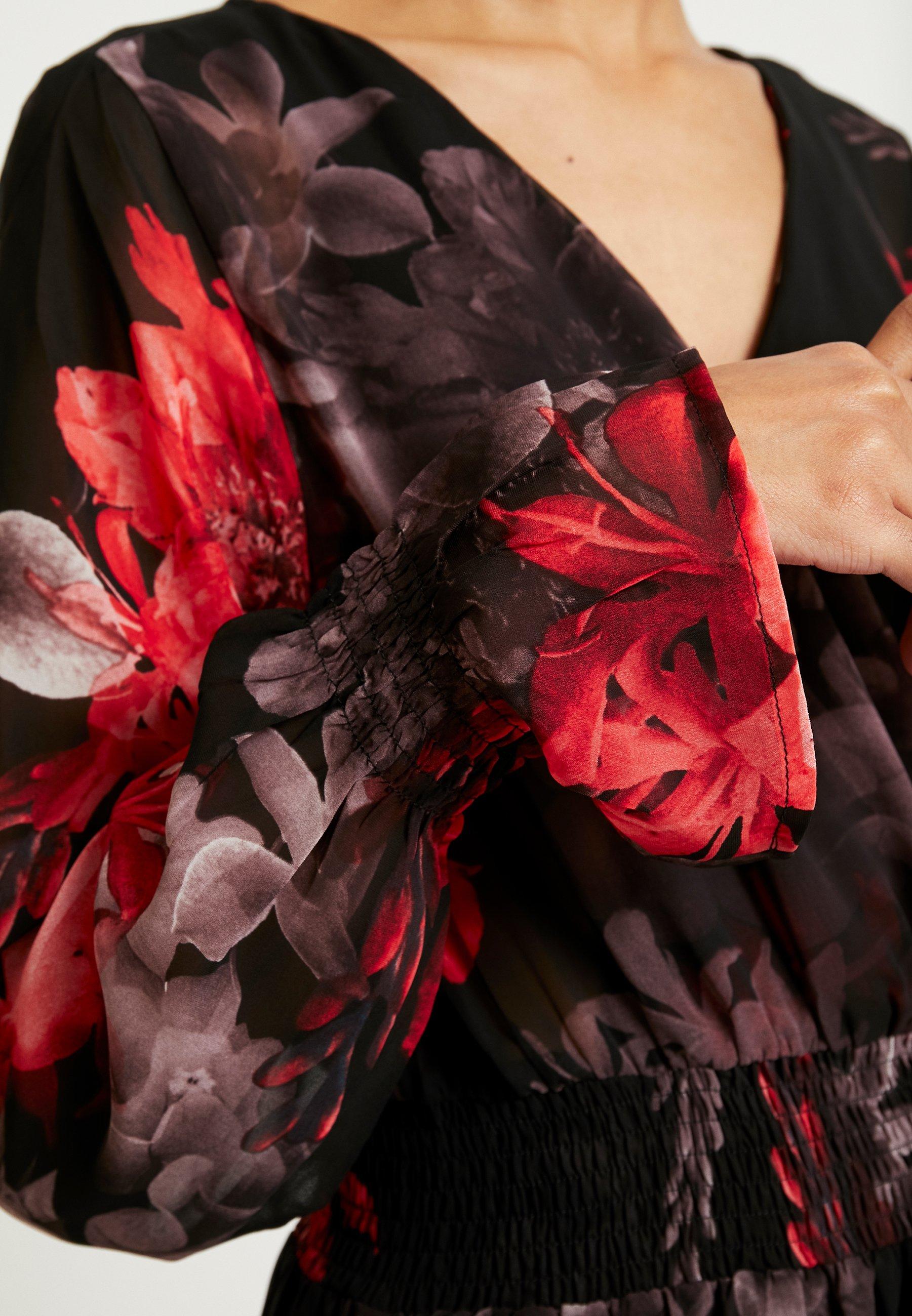 NA-KD SMOCKED V NECK MINI DRESS - Sukienka letnia - multi-coloured