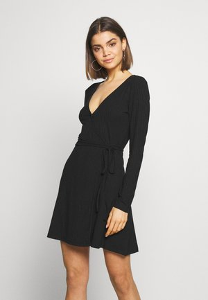 OVERLAP TIE DETAIL MINI DRESS - Jerseykleid - black