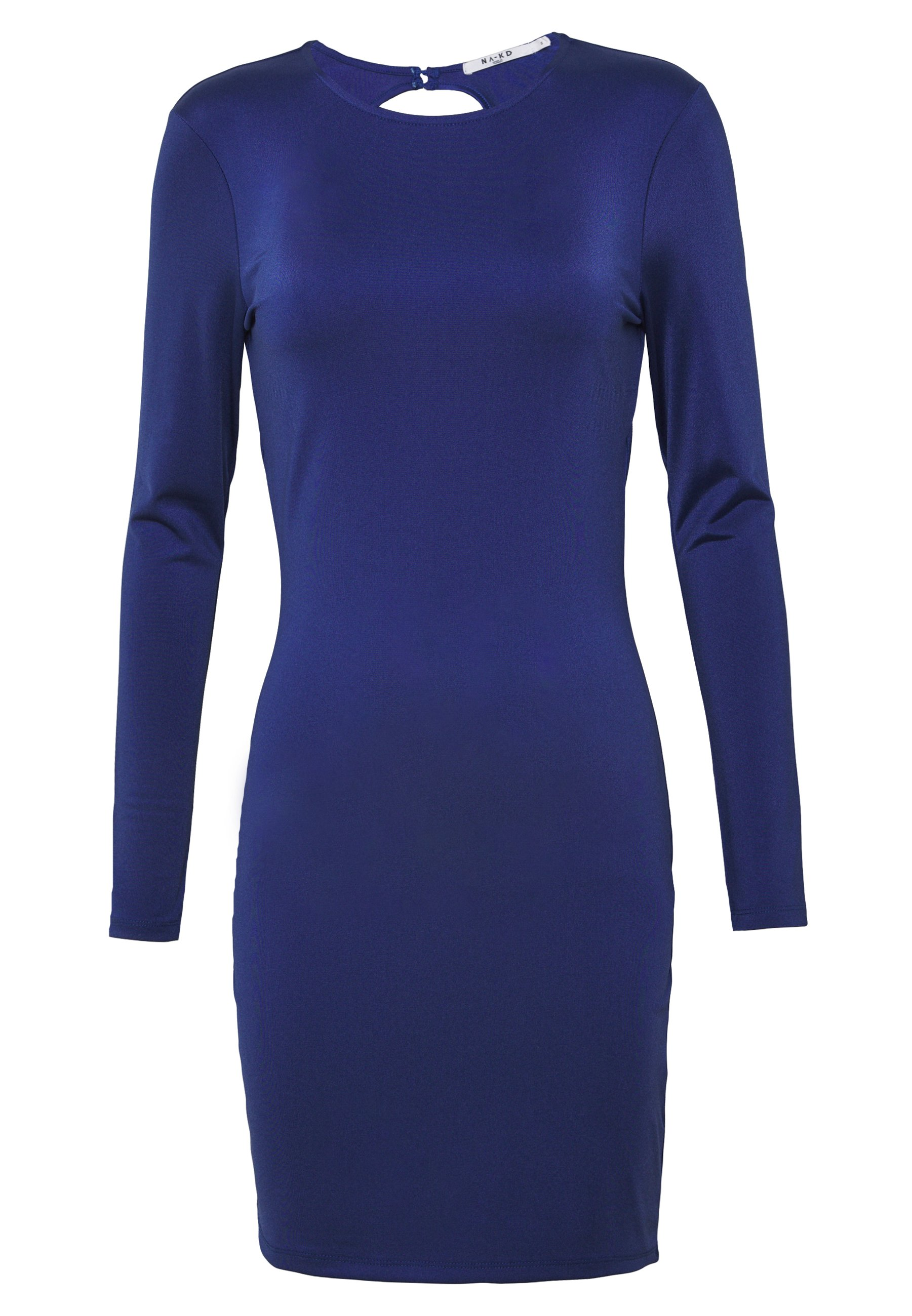 Na-kd Open Back Detail Dress - Jersey Navy UK