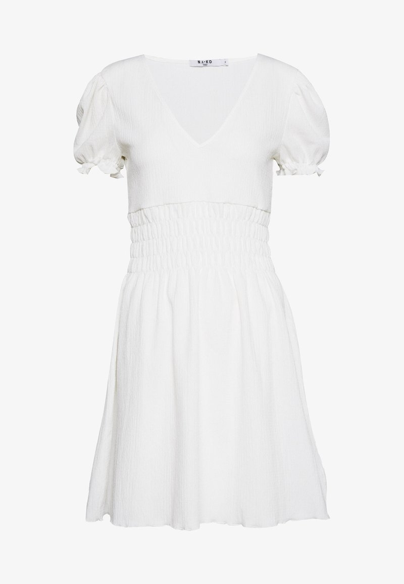 NA-KD - PUFF SLEEVE MINI DRESS - Korte jurk - white