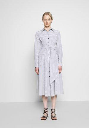 TIE FRONT DRESS - Shirt dress - black/white