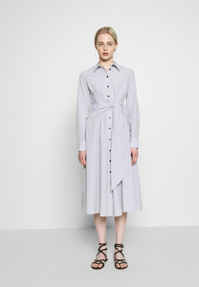 TIE FRONT DRESS - Shirt dress - black/white