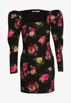 SQUARE NECK PUFFY SLEEVE - Robe fourreau - multi coloured