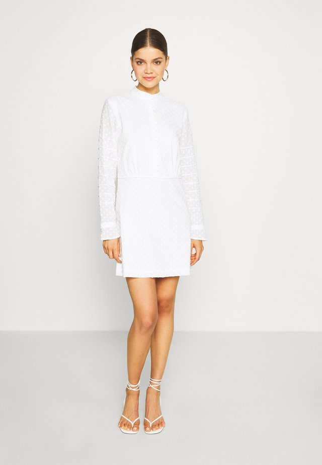 DOBBY MINI DRESS - Shirt dress - white