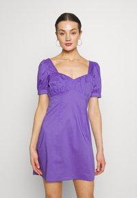 NA-KD - BUST PUFF SLEEVE MINI DRESS - Day dress - purple - 0