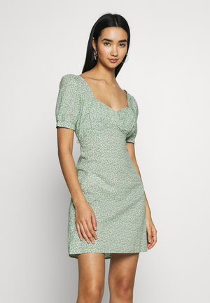 BUST PUFF SLEEVE MINI DRESS - Vestido informal - green