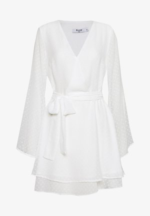 SHIRRED OVERLAP DOBBY DRESS - Day dress - white