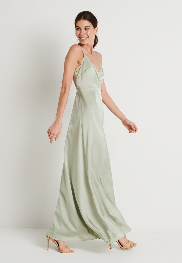 V-NECK FLOWY DRESS - Maksimekko - dusty green