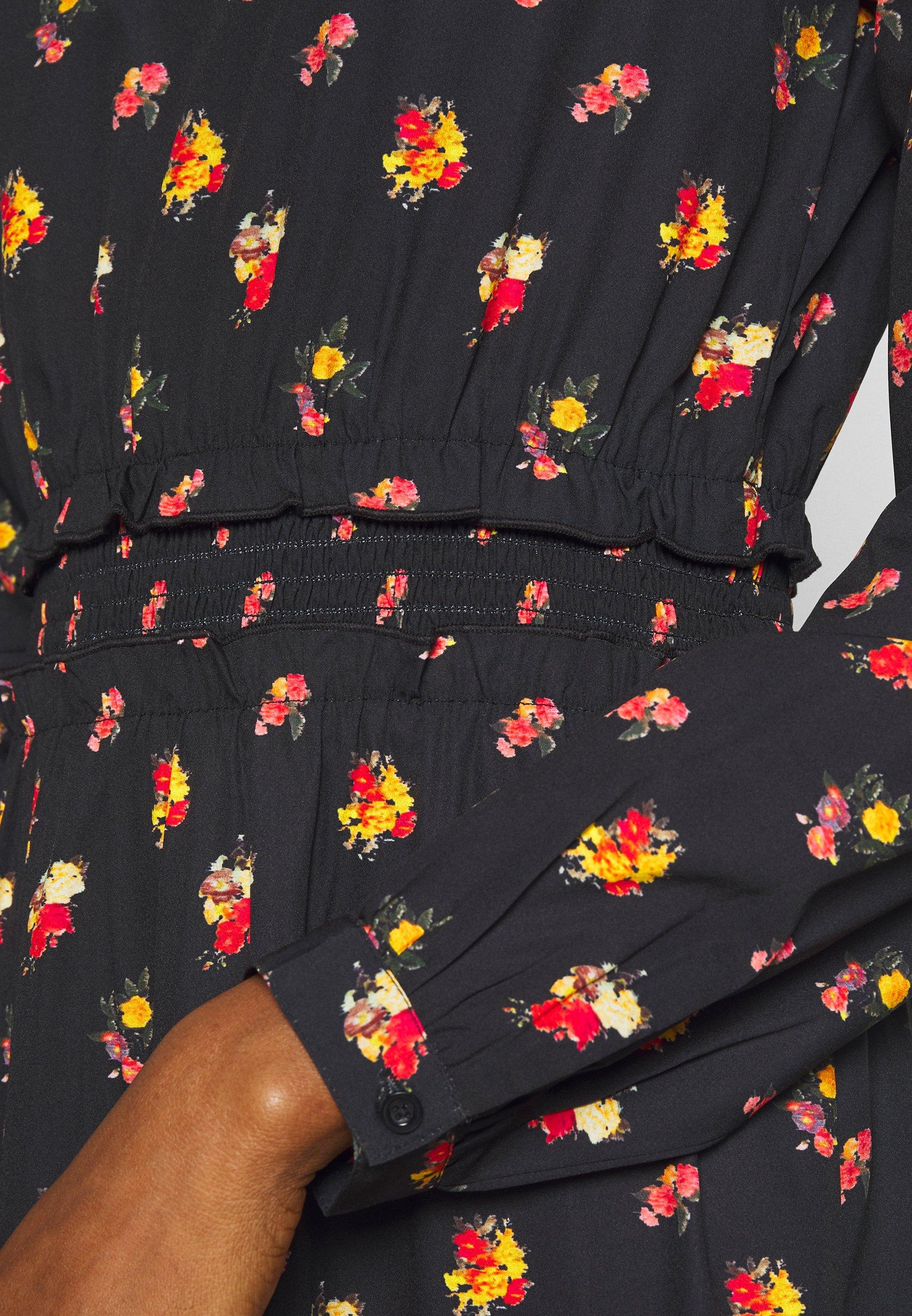 NA-KD RUFFLE DETAILS FLOWY MIDI DRESS - Sukienka letnia - black/orange