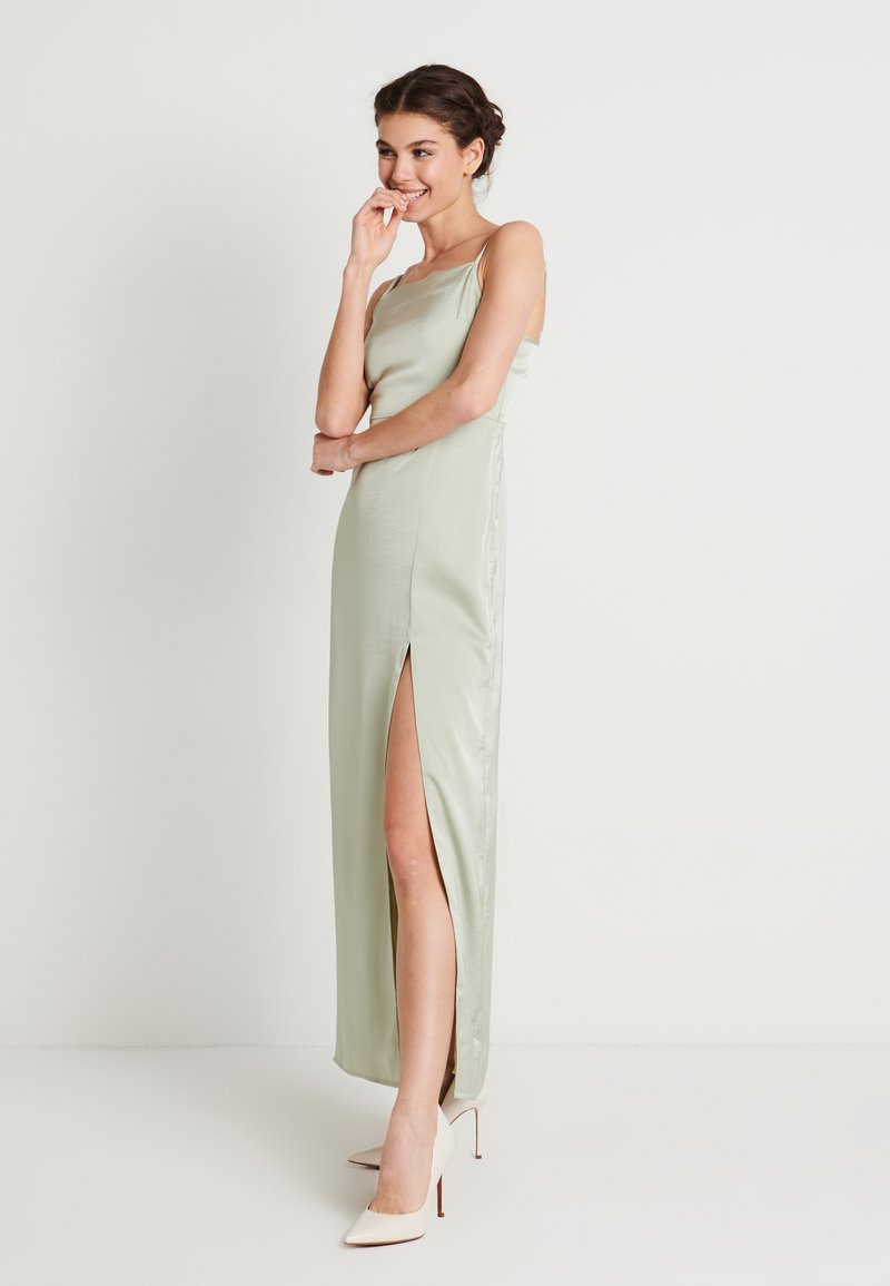 NA-KD - HIGH SLIT DRESS - Maxiklänning - dusty green