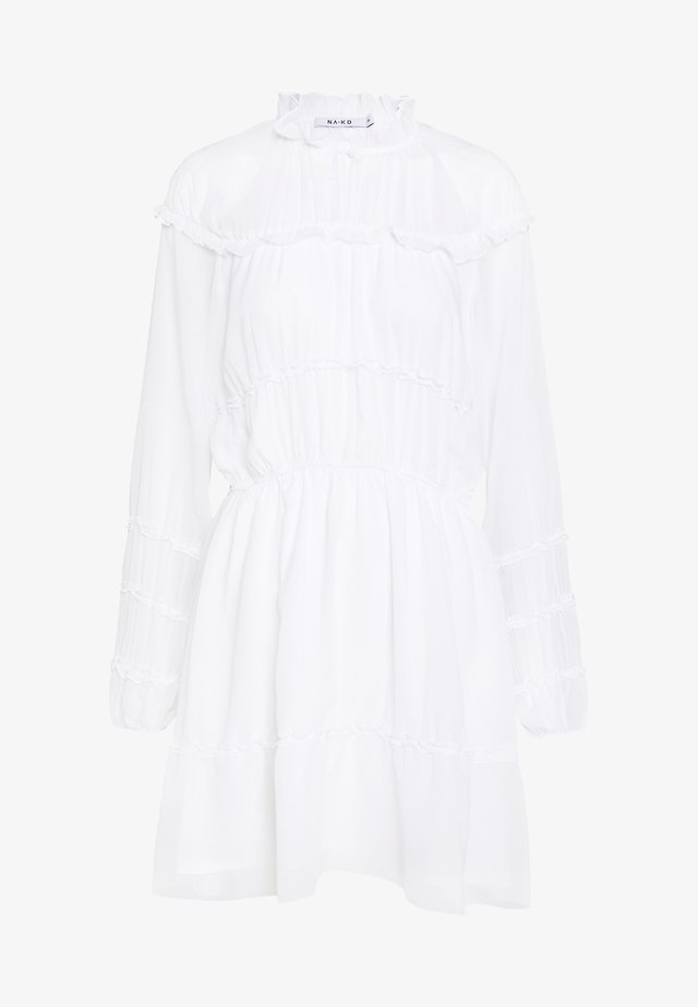 FRILL DETAIL MINI DRESS - Vapaa-ajan mekko - white