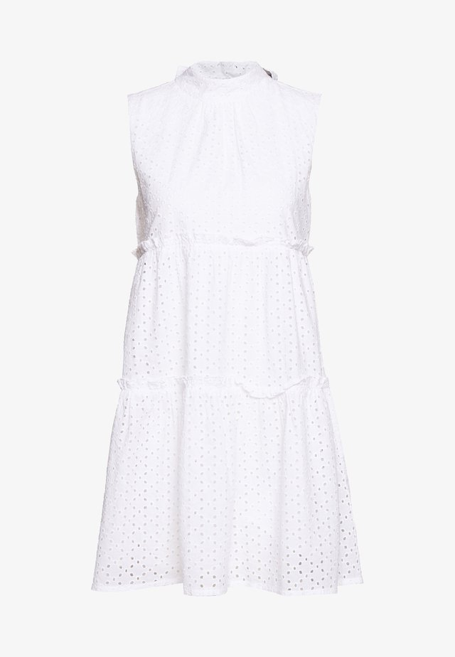 TIE NECK ANGLAISE DRESS - Denní šaty - white