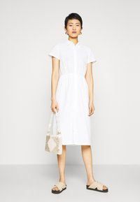 NA-KD - SHORT SLEEVE ANGLAISE DRESS - Skjortekjole - white - 1