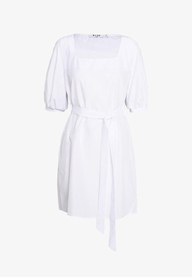 PUFF SLEEVE SQUARE NECK TIE DRESS - Korte jurk - white