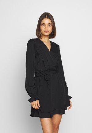OVERLAP DRAPED MINI DRESS - Korte jurk - black