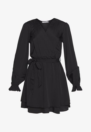 OVERLAP DRAPED MINI DRESS - Sukienka letnia - black