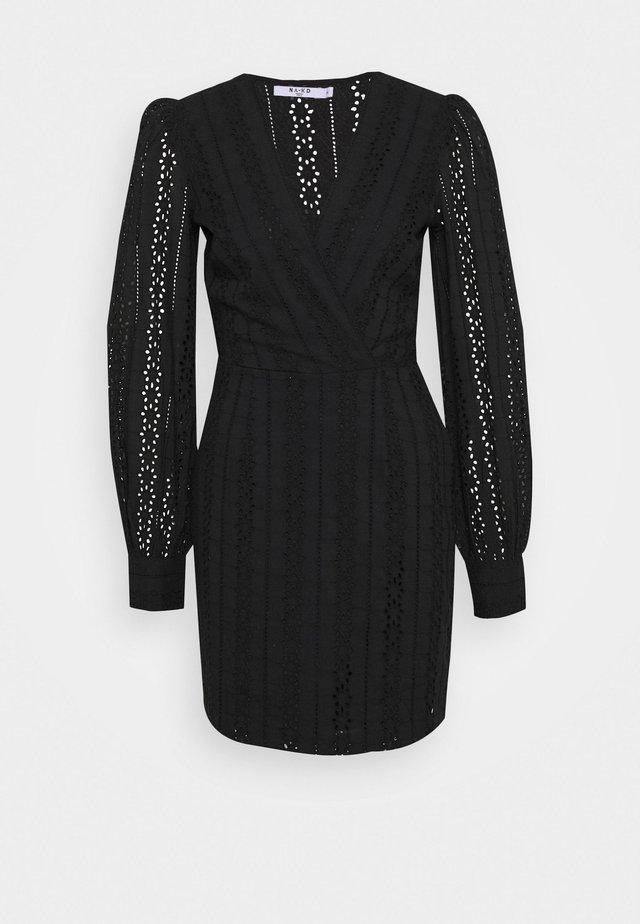 CROCHET DRESS - Korte jurk - black