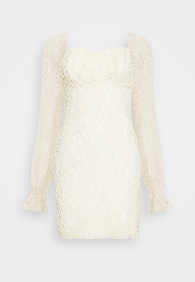 RUCHED MINI DRESS - Juhlamekko - off white