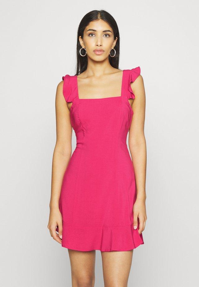 PAMELA REIF X NA-KD FRILL DETAIL MINI DRESS - Day dress - rosewood