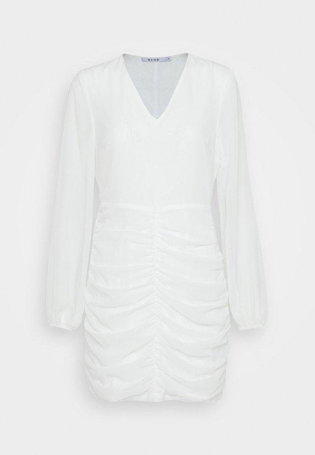 GATHERED BALLOON SLEEVE DRESS - Vapaa-ajan mekko - white