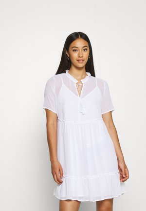 SHORT SLEEVE FLOWY MINI DRESS - Day dress - white