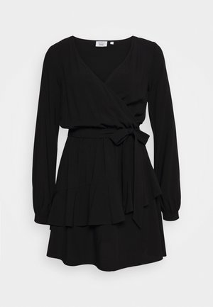 PAMELA REIF X NA-KD OVERLAPPED DETAIL FRILL MINI DRESS - Kjole - black