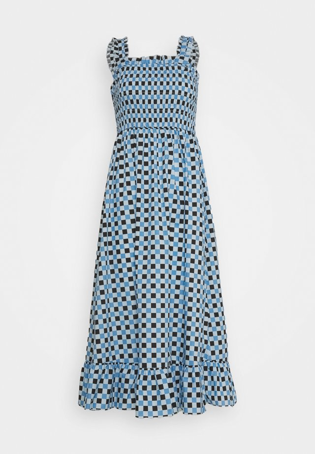 SMOCKED MIDI DRESS - Denní šaty - blue