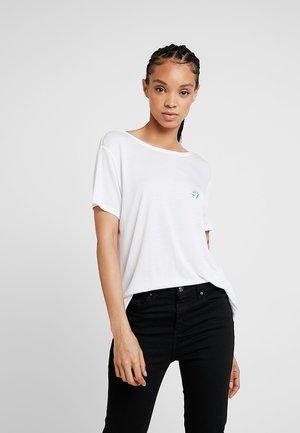 FLORAL MOTIF DEEP BACK - Print T-shirt - white