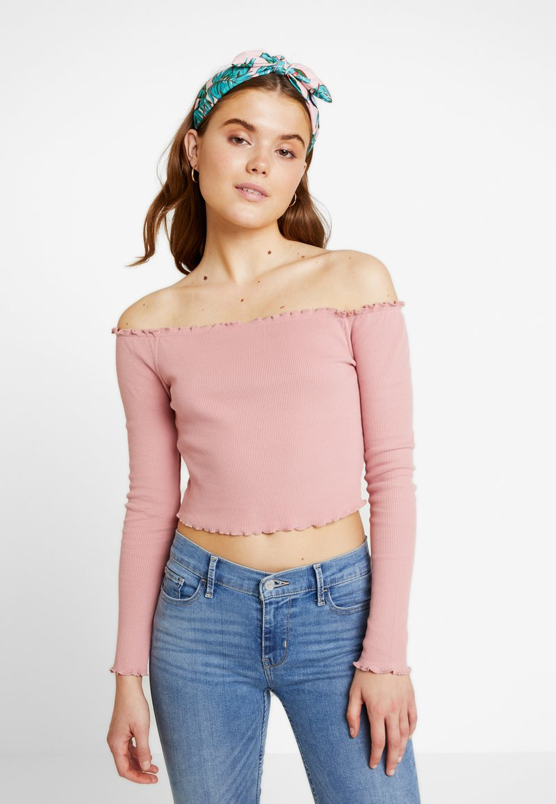 NA-KD - BABYLOCK OFF SHOULDER - Long sleeved top - dusty dark pink