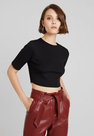 CROPPED - T-shirt con stampa - black